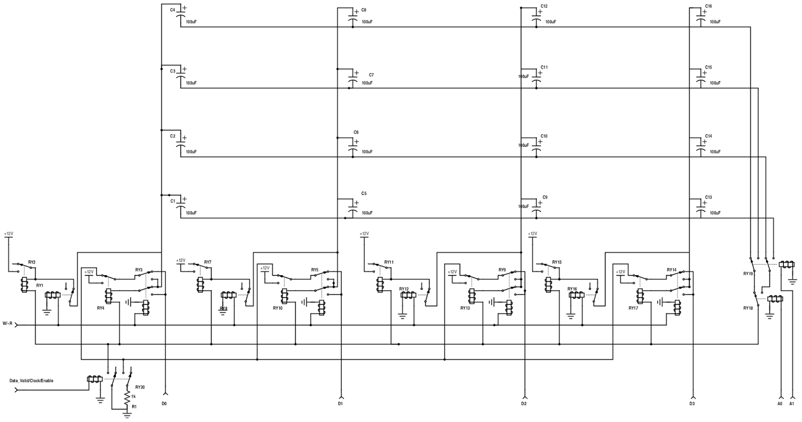 small resolution of this circuit is a 4 x 4 bit example of the design but hopefully you can see how it scales for a 16 bit 128 word memory the above circuit would require