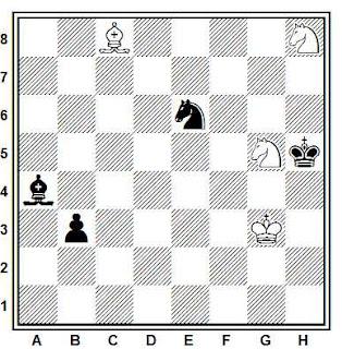Estudio artístico de ajedrez compuesto por Paul Heuäcker (Deutsche Schachblätter 1952)