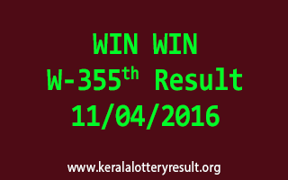 WIN WIN W 355 Lottery Result 11-4-2016