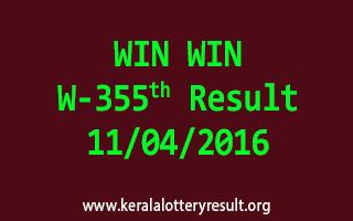 WIN WIN W 355 Lottery Result 11-4-2016