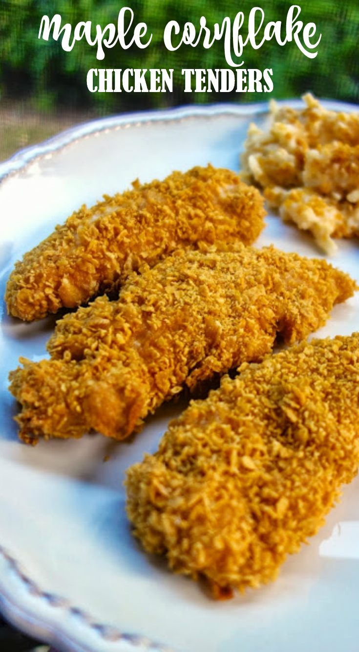 Maple Cornflake Chicken Fingers Recipe - chicken tenders crusted in corn flakes, cajun seasoning and maple syrup - quick dinner recipe - can coated chicken and freeze unbaked for a quick meal later.