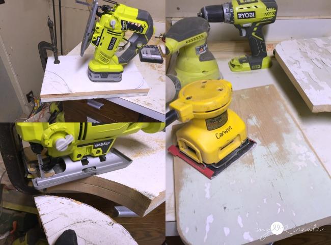 cutting and sanding shelf boards