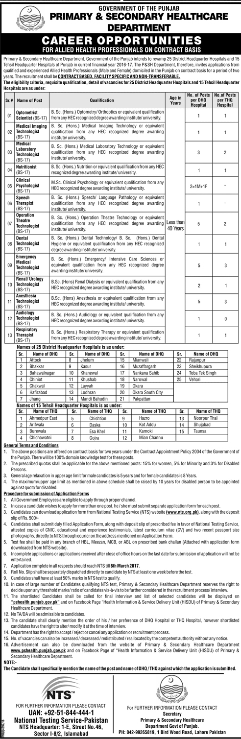 Punjab Health Department Jobs in Primary & Secondary Health care for Allied Health Professionals Optometrist Scientist, Medical Imaging Technologist, Medical Laboratory Technologist, Nutritionist, Clinical Psychologist, Speech Therapist, Operation Theatre Technologist, Dental Technologist, Emergency Medical Technologist, Renal / Urology Technologist, Anaesthesia Technologist, Audiology Technologist, Respiratory Therapist