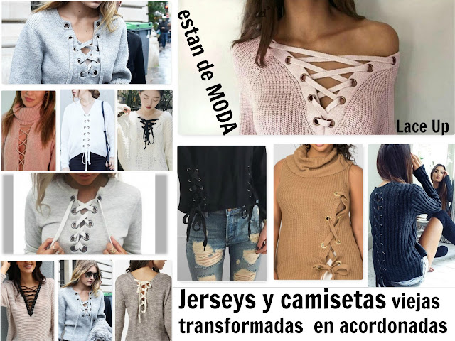 camisetas y jerseis acordonados, lace up, bricomoda