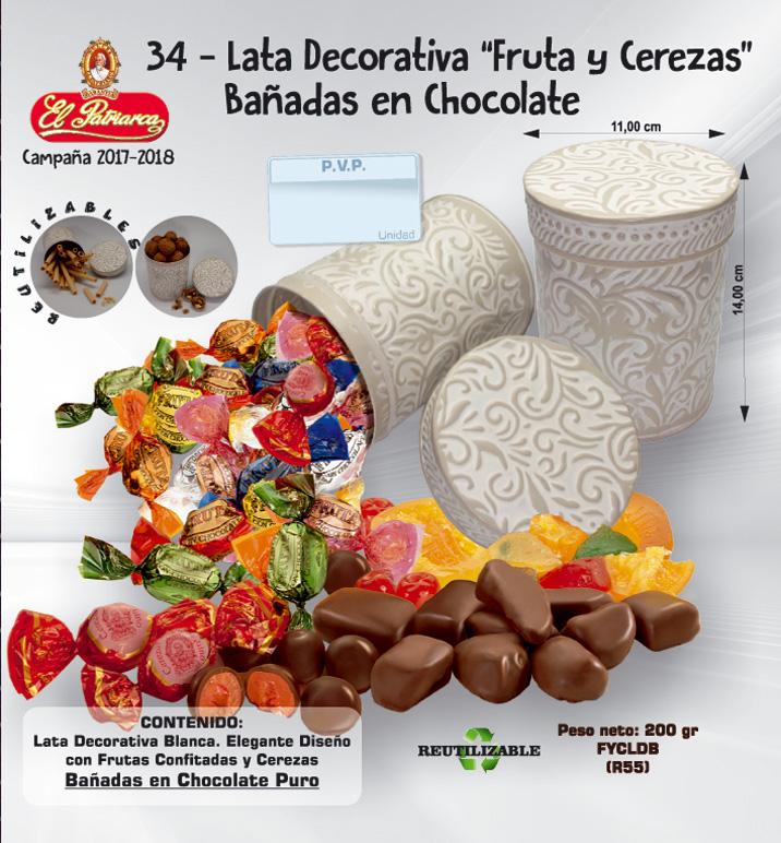Lata decorativa Frutas y Cerezas bañadas en chocolate El Patriarca 200 g - Comercial H. Martín sa