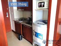 Cho thuê căn hộ studio The Manor 2 quận Bình Thạnh | bếp và máy giặt