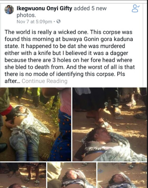 Graphic photos: Body of pretty young lady with multiple stab wounds found dumped along road in Kaduna