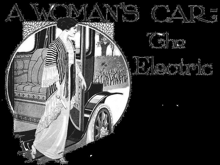 Женщина за рулём старинного электромобиля