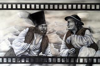 """CZarno-biały obraz namalowany na ścianie, artystyczne malowanie ściany, Malowanie obrazu na ścianie z filmu """"Janosik"""""""