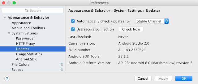 Preferensi Pembaruan Android Studio
