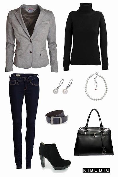 Ensemble de vêtements et accessoires en boir et gris