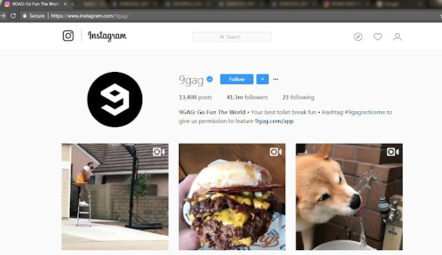 Halaman Akun Instagram 9gag