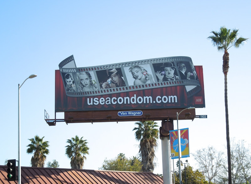 Hollywood screen legends condom billboard