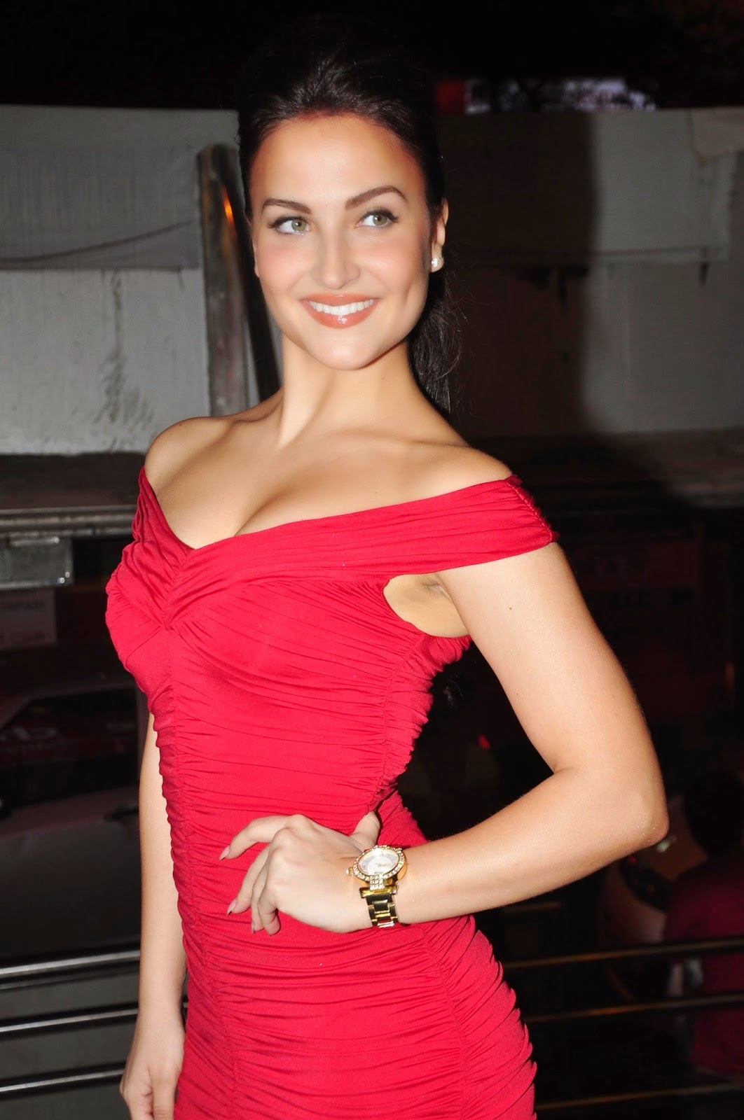 Elli Avram Sizzling In Red Short  Cute Marathi Actresses -5504