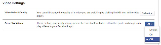 turn off video autoplay on Facebook