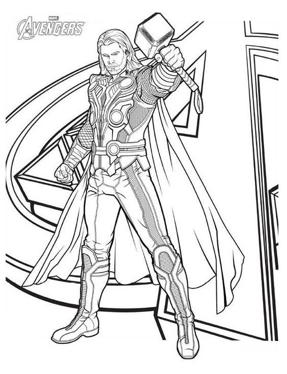 Tranh tô màu Thor Biệt Đội Siêu Anh Hùng