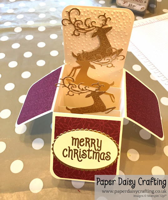 Detailed pop up card in a box from Stampin Up