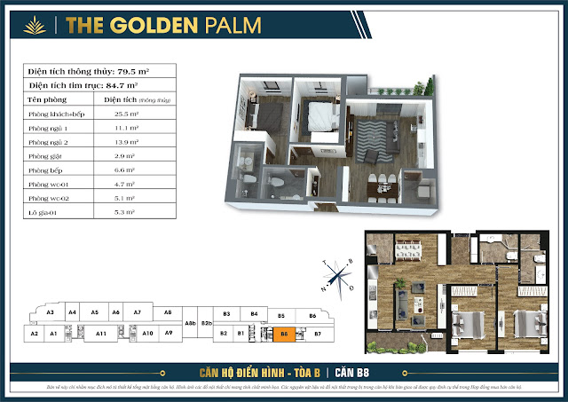 Căn B8 - 79m - The Golden Palm