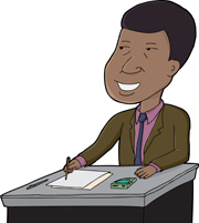 Cartoon of businessman writing by Eric Basir