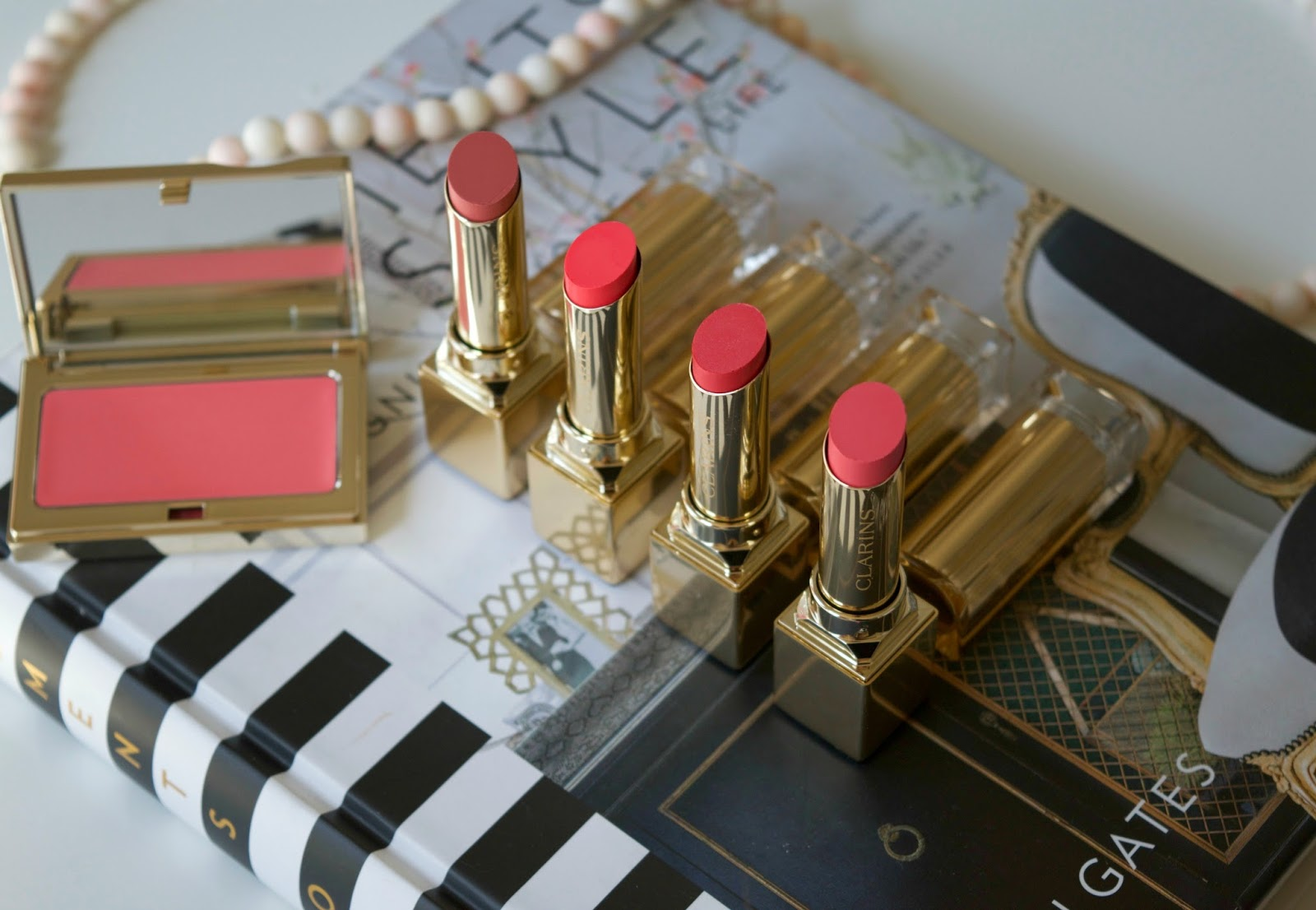 clarins lipstick - clarins creme blush - clarins spring makeup