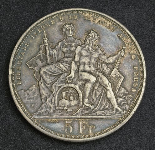 Switzerland Coins Silver 5 Swiss Francs Lugano Shooting Thaler Coin Dated 1883 World