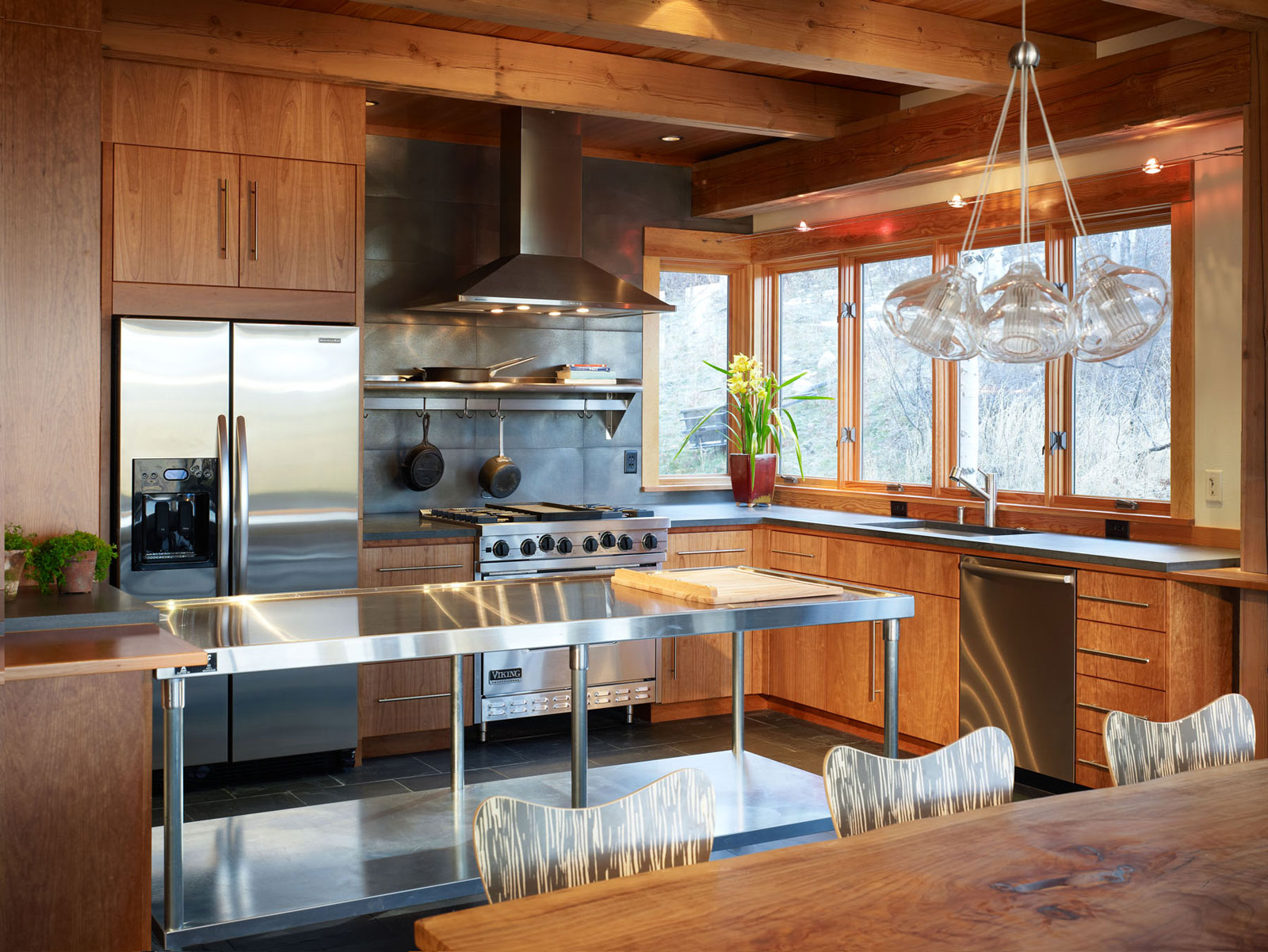 Stainless Steel Kitchen Tables in Interesting Kitchen with Wooden Counter and Cabinets