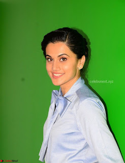 Taapsee Pannu in Light Blue Shirt and Black Top Promoing her movie Gaazi   February 2017 008.jpg