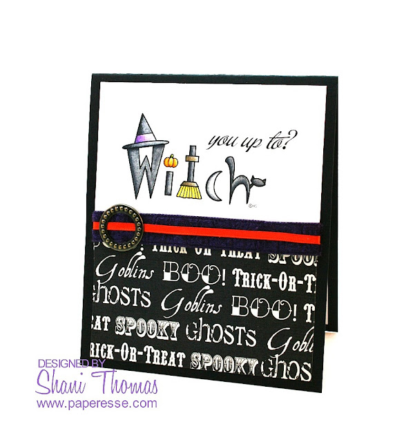 2 Cute Ink Witch Word Art digital stamp Halloween card, by Paperesse.