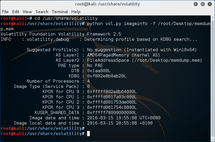 Kali Linux, Volatility - Imageinfo