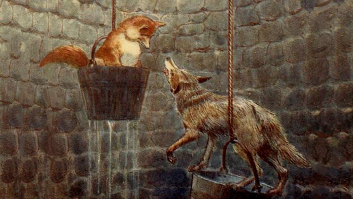 La volpe il lupo e la luna nel pozzo - La Fontaine