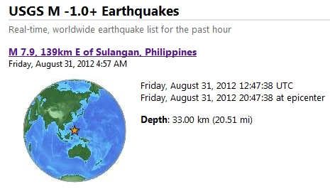 Earthquake Philippines August 31, 2012