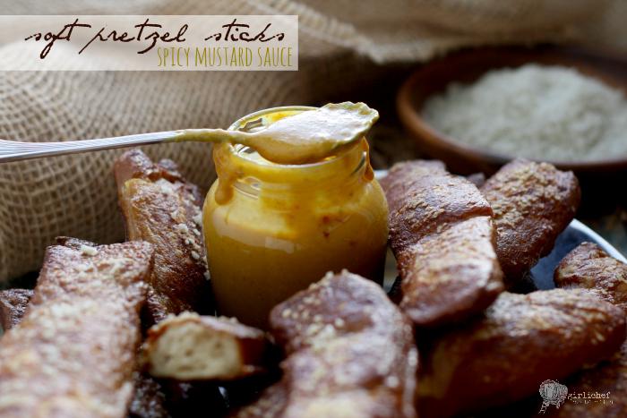 Soft Pretzel Sticks with Spicy Mustard Sauce