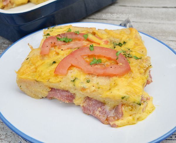 Baked Bacon and Cheese French Toast is the easiest way to make french toast in the oven - deliciously packed with Bacon and Cheese