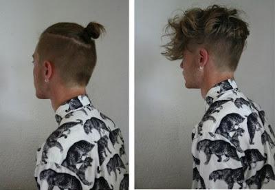 Model Tato Rambut Pria gondrong tengah