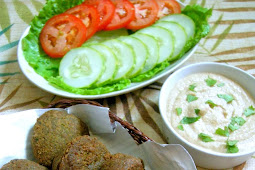 Falafel (Fried Chickpeas Patties)  with Tahini Sauce