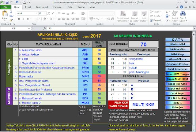 APLIKASI RAPOT MI KURIKULUM 2013 REVISI 2017