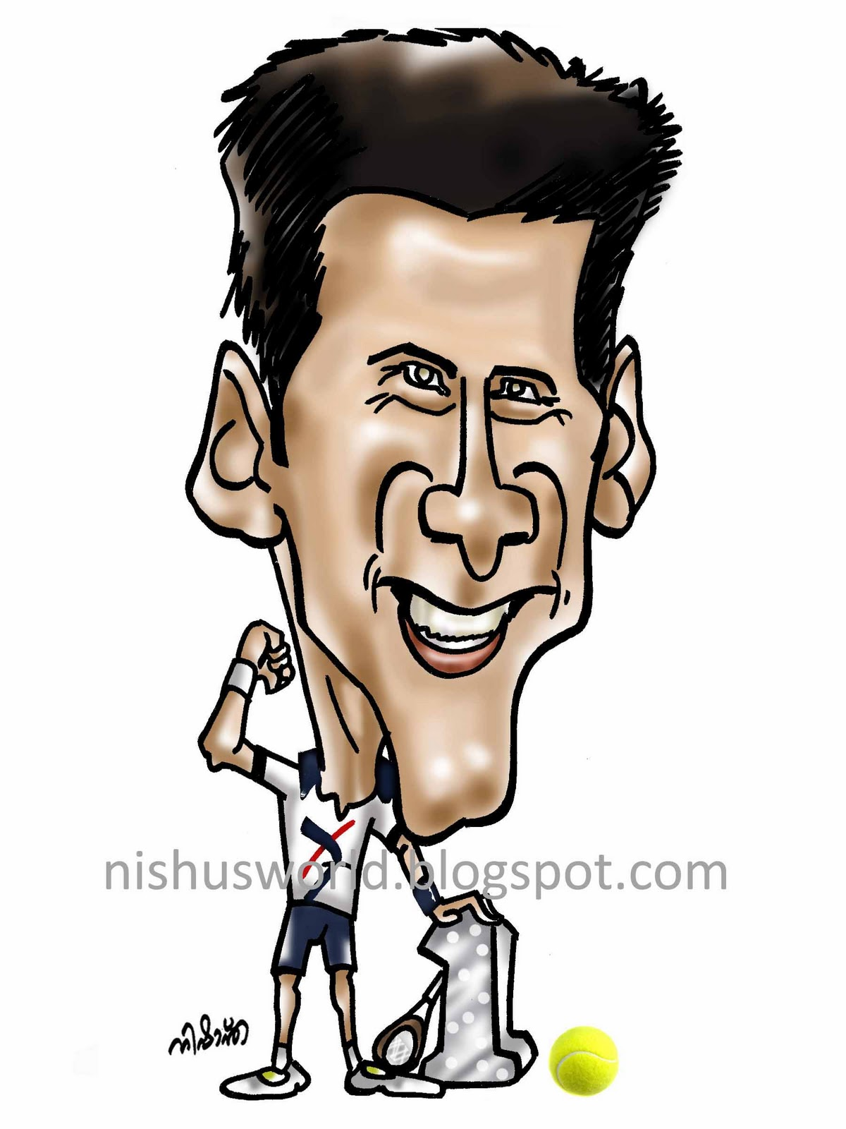 Nishu S World Of Caricatures Novak Djokovic 2011