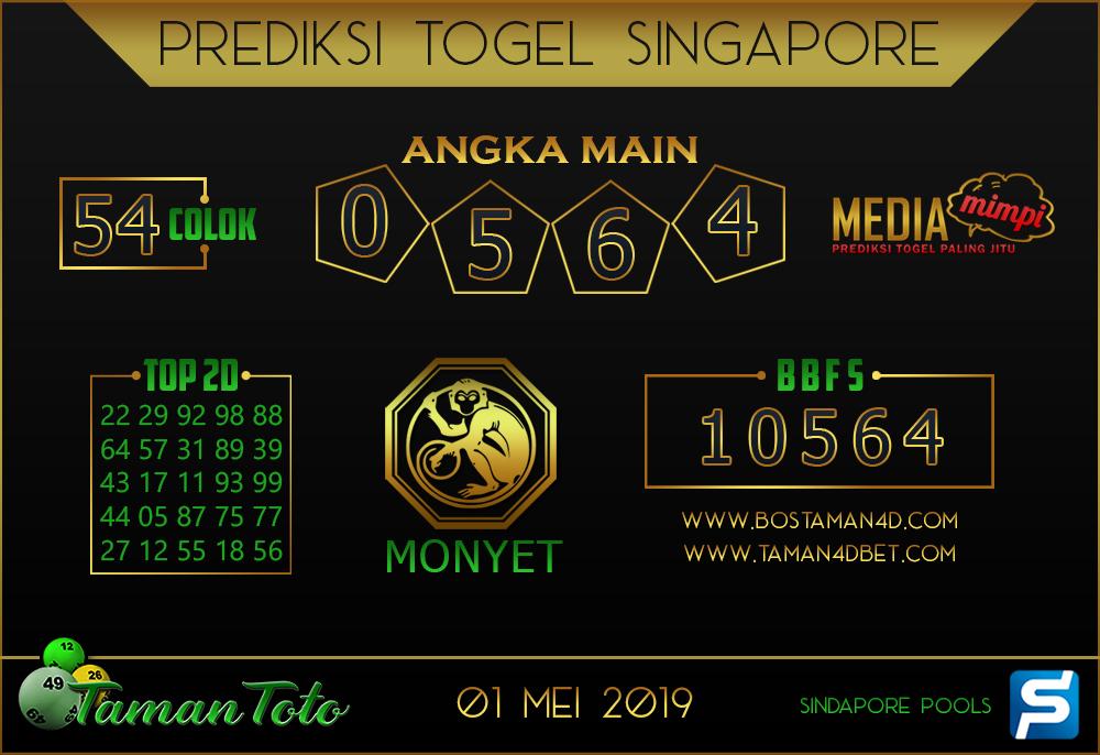 Prediksi Togel SINGAPORE TAMAN TOTO 01 MEI 2019
