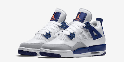 buy popular a9711 c8bba This Girls Air Jordan 4 Retro GG comes in a white, deep royal blue, wolf  grey and hyper orange. Featuring a white-based leather upper with grey and  purple ...