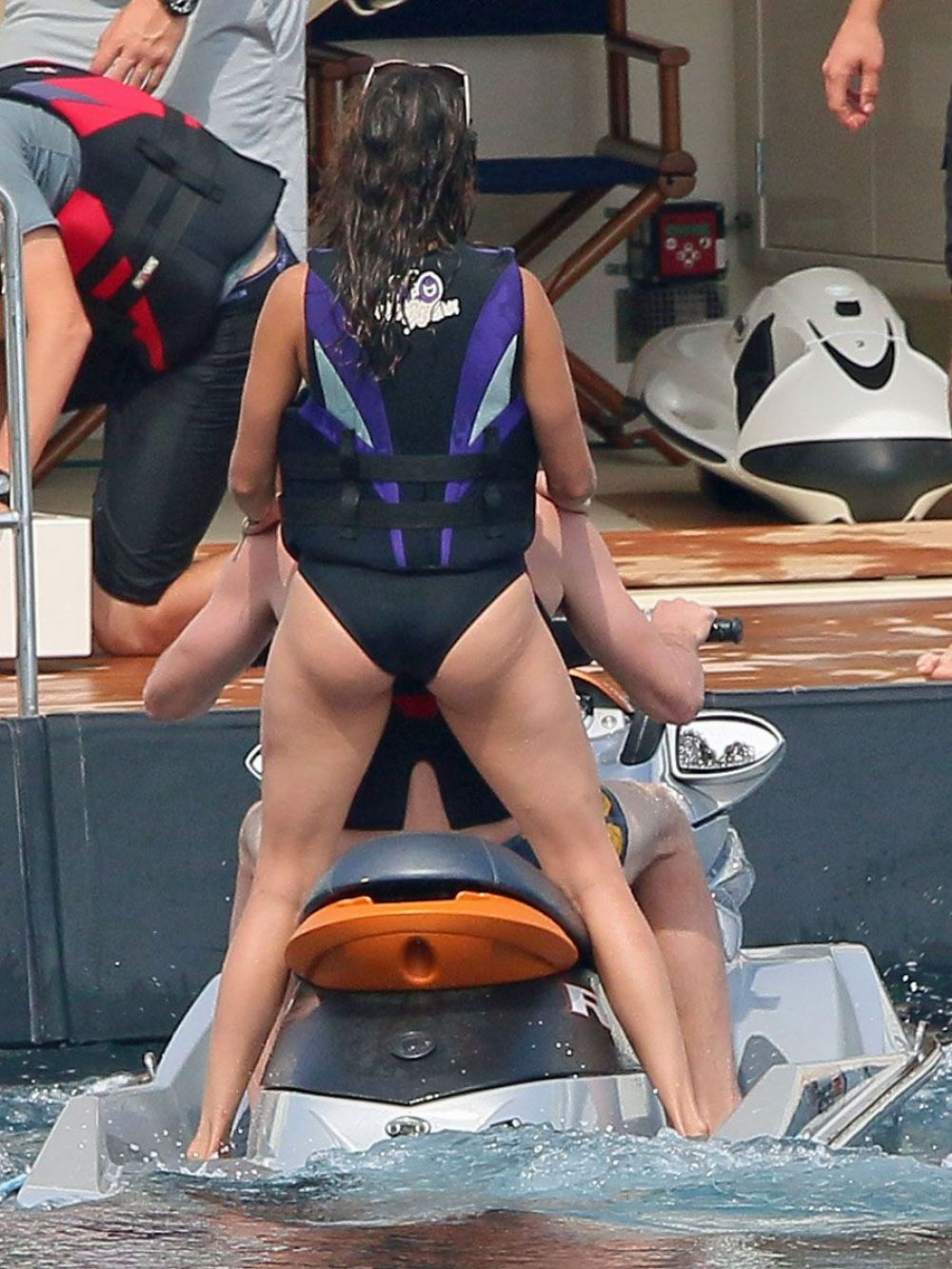 Nina Dobrev in a Black Swimsuit at a Boat in France | Celebs Today Alessandra Ambrosio