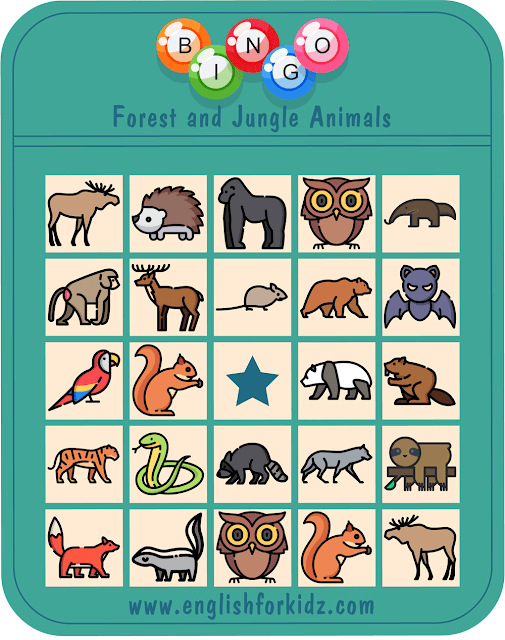 Forest animals bingo game – printable ESL worksheets for English teachers and students