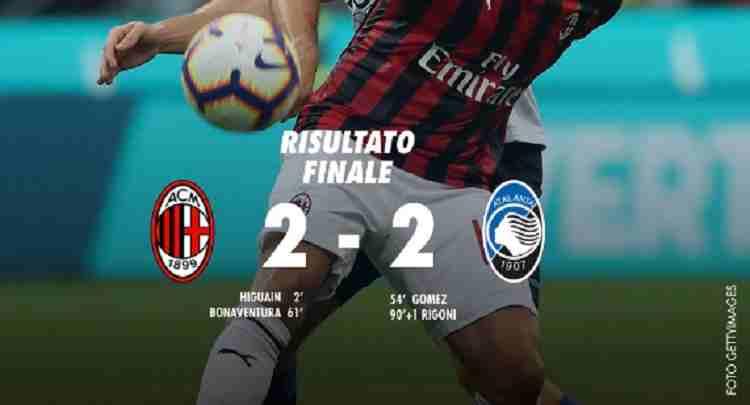 Hasil AC Milan vs Atalanta Skor Akhir 2-2