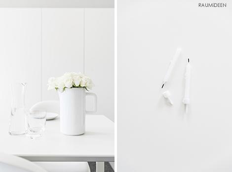 Dekoidee mit weißen Rosen.