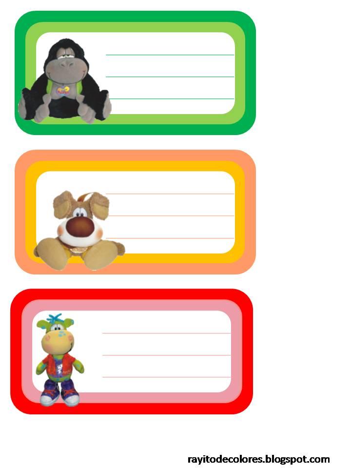 Etiquetas escolares de Pelana