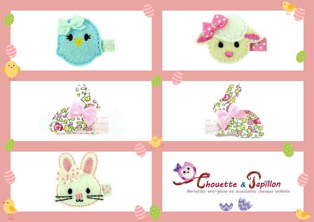 barrettes bébé, barrettes ant-glisse, barrettes enfants pour fêter pâques