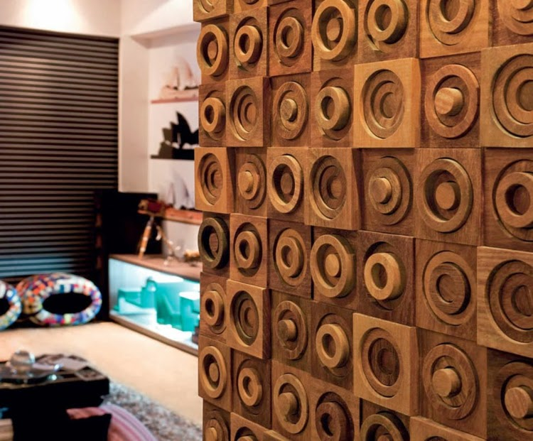 Decorative 3D wall panels, 3D wooden wall panels with round shapes - Decorative 3D Wall Panels And Wall Paneling Ideas 2017