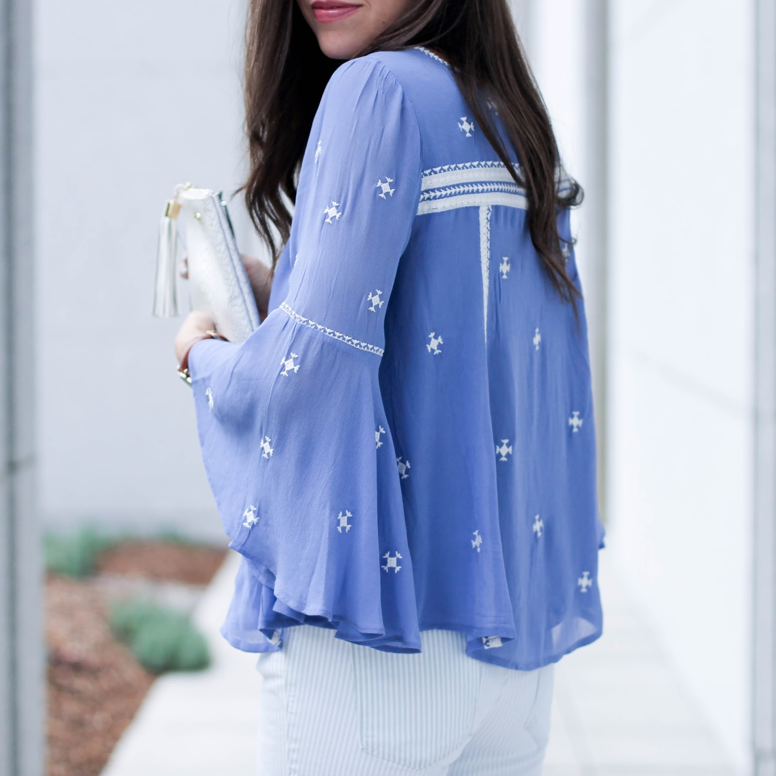 Anthropologie Embroidered Blouse, summer outfit idea, summer blouse, fashion blog, pretty in the pines, nc blogger, north carolina blogger, striped skinny jeans, jessica simpson white wedges, gigi new york all in one clutch, shelby vanhoy