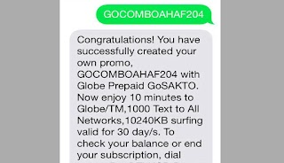 Globe GOCOMBOAHAF204 – 10MB for 30 Days, 1000 Text to All Networks