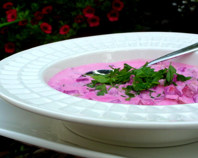 Summer Borscht, another easy summer soup ♥ AVeggieVenture.com, served cold. Beautiful Color. Weeknight Easy, Weekend Special.
