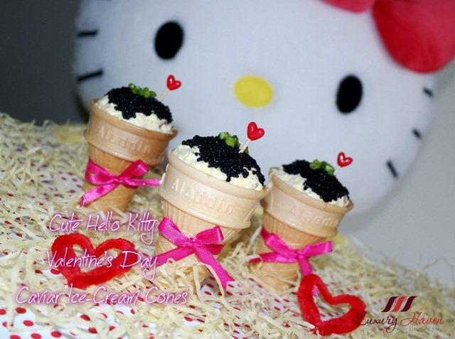 hello kitty valentines day caviar ice cream cones